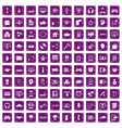 100 programmer icons set grunge purple vector image vector image