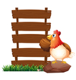 A hen beside the empty signboards vector image vector image