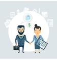 Accountant shakes hands with partner companies vector image