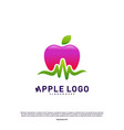 apple with medical pulse logo concept health vector image