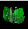 Battery with green leaves vector image
