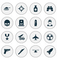 battle icons set collection of missile military vector image vector image