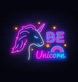 be unicorn neon sign design template vector image vector image