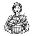 beautiful girl or happy farmer holding a wicker vector image vector image
