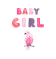 bird and hand drawn lettering - baby girl