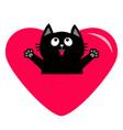 black cat and big heart icon cute funny cartoon vector image