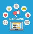 blogging concept on blue background laptop and vector image vector image