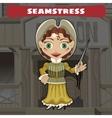Cartoon character of Wild West - seamstress vector image vector image