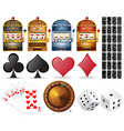 Casino set with cards and games vector image vector image