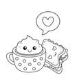 chocolate mug with sandwich kawaii characters vector image