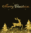 Christmas shining background with golden deer vector image