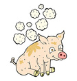 comic cartoon smelly pig vector image vector image