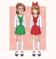 couple of anime students womens vector image