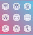 decor icons line style set with chandelier wall vector image vector image