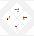 flat icon hammer set of defense legal law and vector image vector image