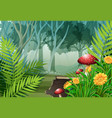 forest scene with trees and flowers vector image vector image