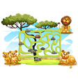 Game template with lions in the field vector image vector image