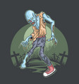 halloween zombie rise from graveyard vector image