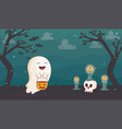 happy ghost with pumpkin candles skull halloween vector image