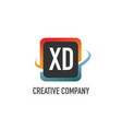 initial letter xd swoosh creative design logo vector image vector image