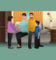 kids giving flowers to their parents vector image