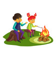 kids marshmallow on fire concept background vector image