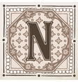 letter N with leaves and frame vector image vector image