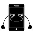 mobile phone character emoticon face kawaii vector image