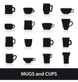 mugs and cups black silhouette icons set eps10 vector image vector image