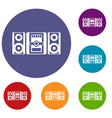 music center icons set vector image vector image
