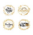 new year merry bright wishes lettering doodles vector image vector image