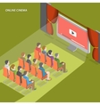 online cinema flat isometric concept vector image vector image
