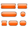 orange glass oval round square buttons with vector image vector image