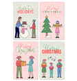 people wishing merry christmas and happy holidays vector image