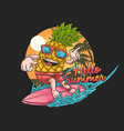 pineapple tropical surfing gra vector image vector image