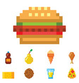 pixel art food computer design icons vector image vector image