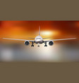 plane flying in dramatic sunset light vector image