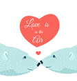 polar bears couple hearts love valentines day card vector image vector image
