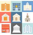 public building icons set flat design vector image vector image