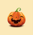 realistic halloween pumpkin happy face vector image vector image