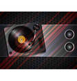 Record deck and speaker on metallic background vector image vector image