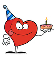 Red Heart Birthday Character Wearing A Hat vector image