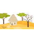 sandy scenery with small house dry and green vector image