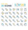 set line icons seafood vector image