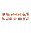 set merry santa claus characters riding vector image