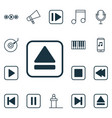 set of 16 music icons includes mute song note vector image vector image