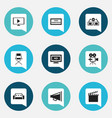 set of 9 editable cinema icons includes symbols vector image vector image