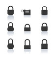 set of black icons lock vector image vector image