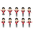 set of business woman characters in movement vector image vector image