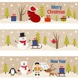 set of horizontal banners with christmas trees vector image